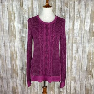 Lucky Brand Purple Open Knit Lined Sweater Size M